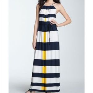 Maggy London striped nautical halter maxi dress.